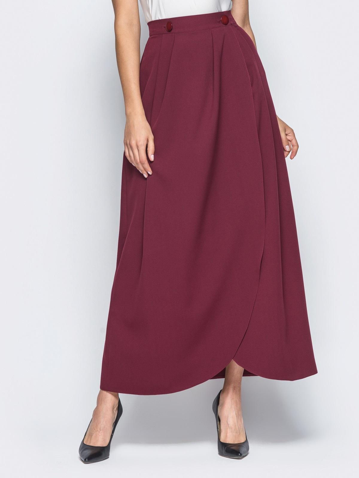 Юбка-макси бордового цвета на пуговицах - 16547, фото 1 – интернет-магазин Dressa