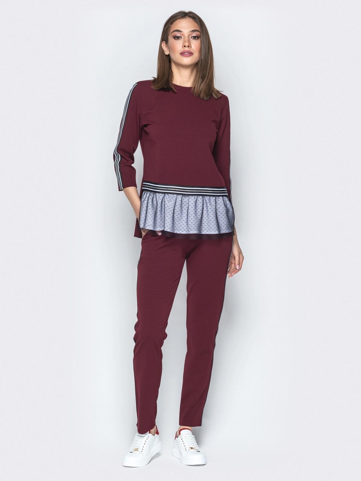 Бордовый комплект с двухслойным воланом по низу на кофте - 21997, фото 1 – интернет-магазин Dressa