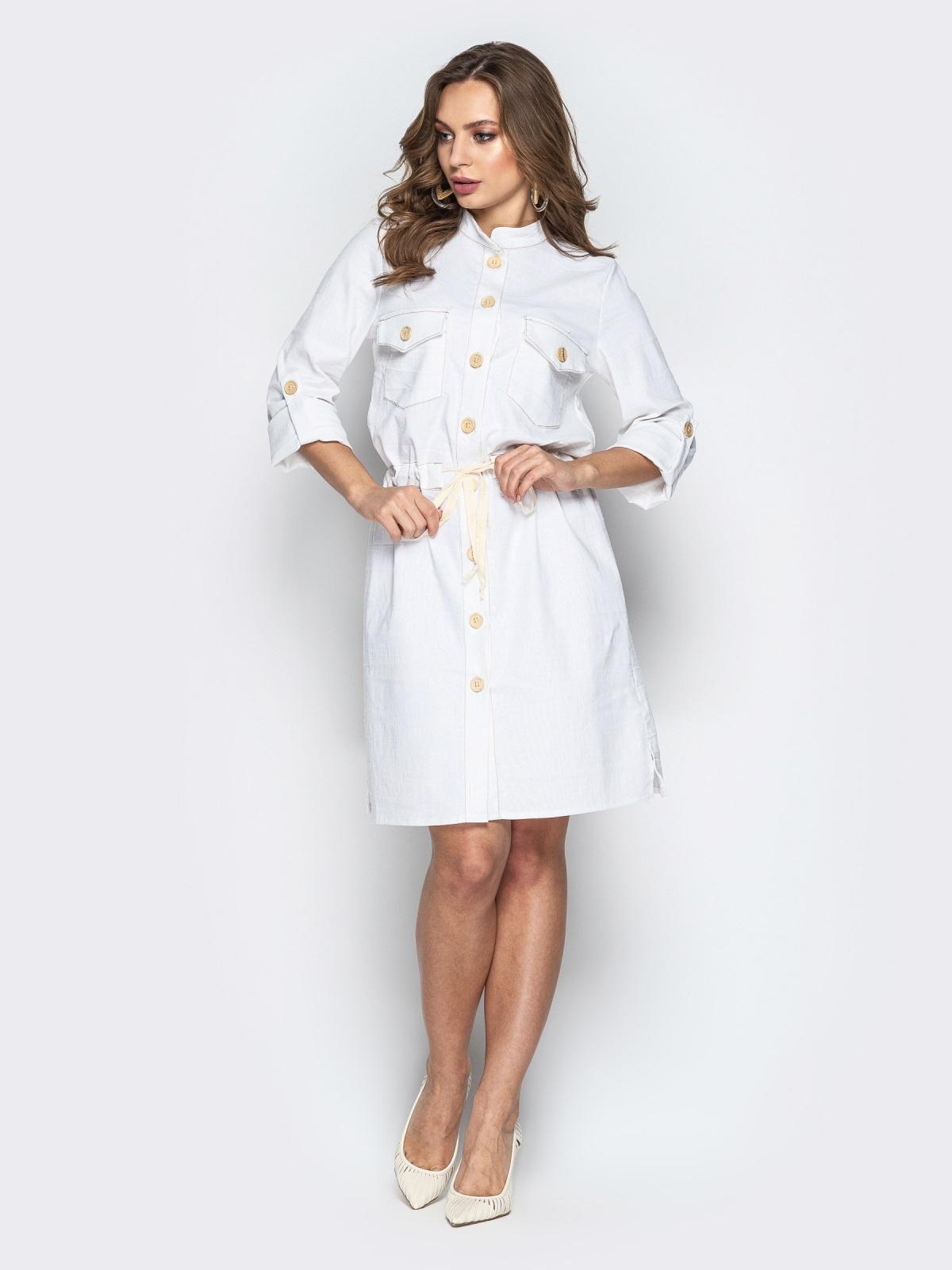 Льняное платье-рубашка с кулиской по талии белое 20663, фото 1