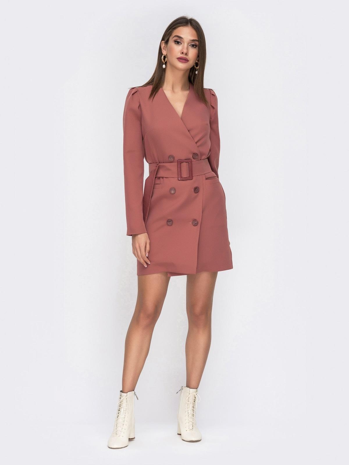 Платье-пиджак розового цвета с широким поясом - 42221, фото 1 – интернет-магазин Dressa