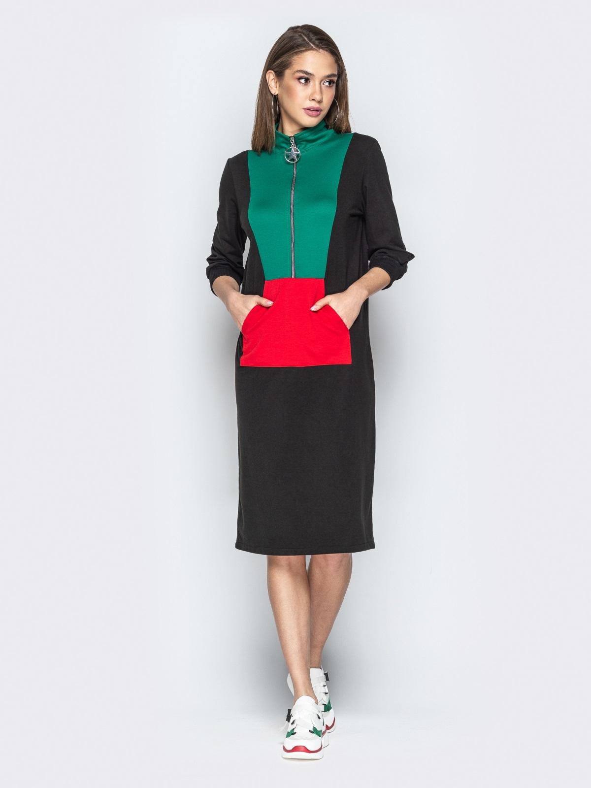 Спортивное платье oversize с карманом-кенгуру чёрное - 20966, фото 1 – интернет-магазин Dressa
