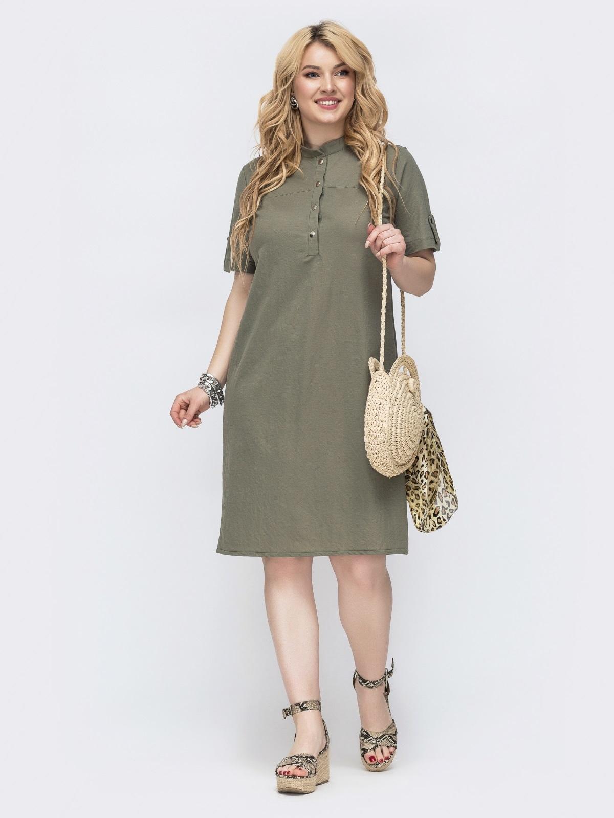 Платье-рубашка большого размера на кнопках хаки 46088, фото 1