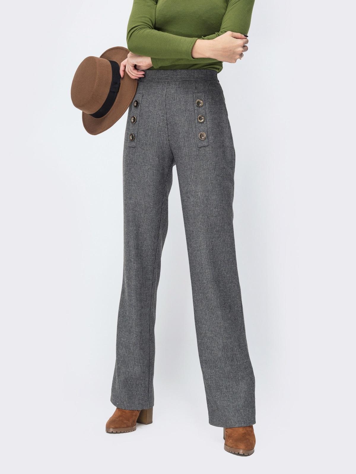 Серые брюки прямого кроя в клетку - 44146, фото 1 – интернет-магазин Dressa