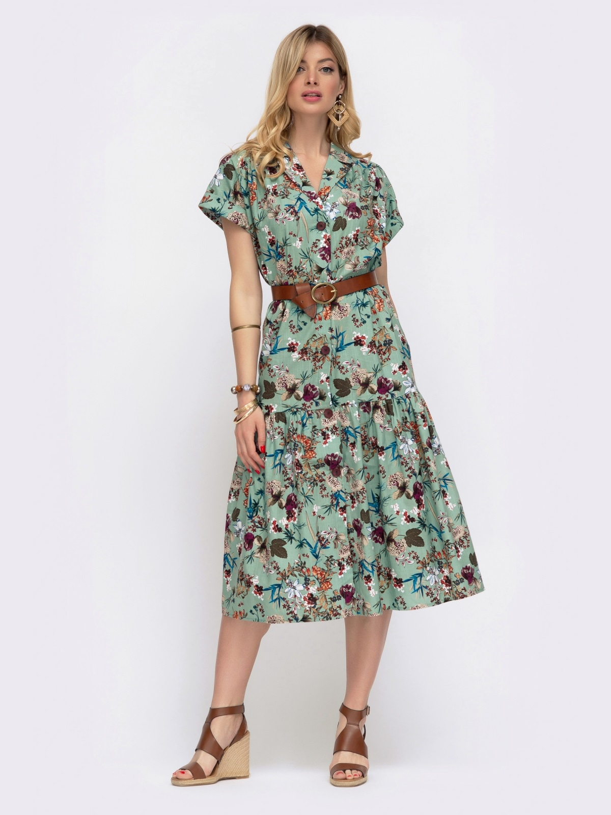 Зелёное платье в цветочный принт свободного кроя 48048, фото 1