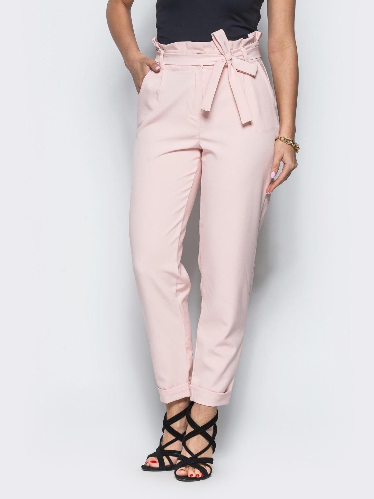 Розовые брюки с рюшей на поясе  12765, фото 1