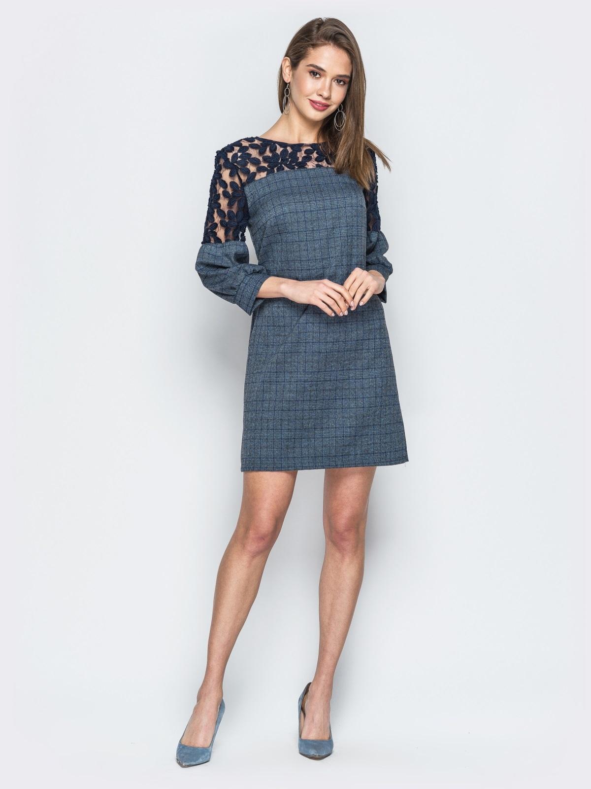 Платье синего цвета с сеткой на рукавах - 19059, фото 1 – интернет-магазин Dressa
