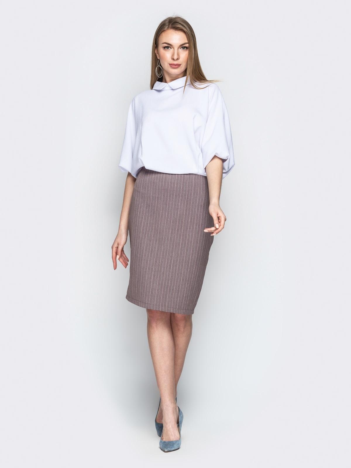 Комбинированное платье с юбкой-карандаш бежевое - 20674, фото 1 – интернет-магазин Dressa