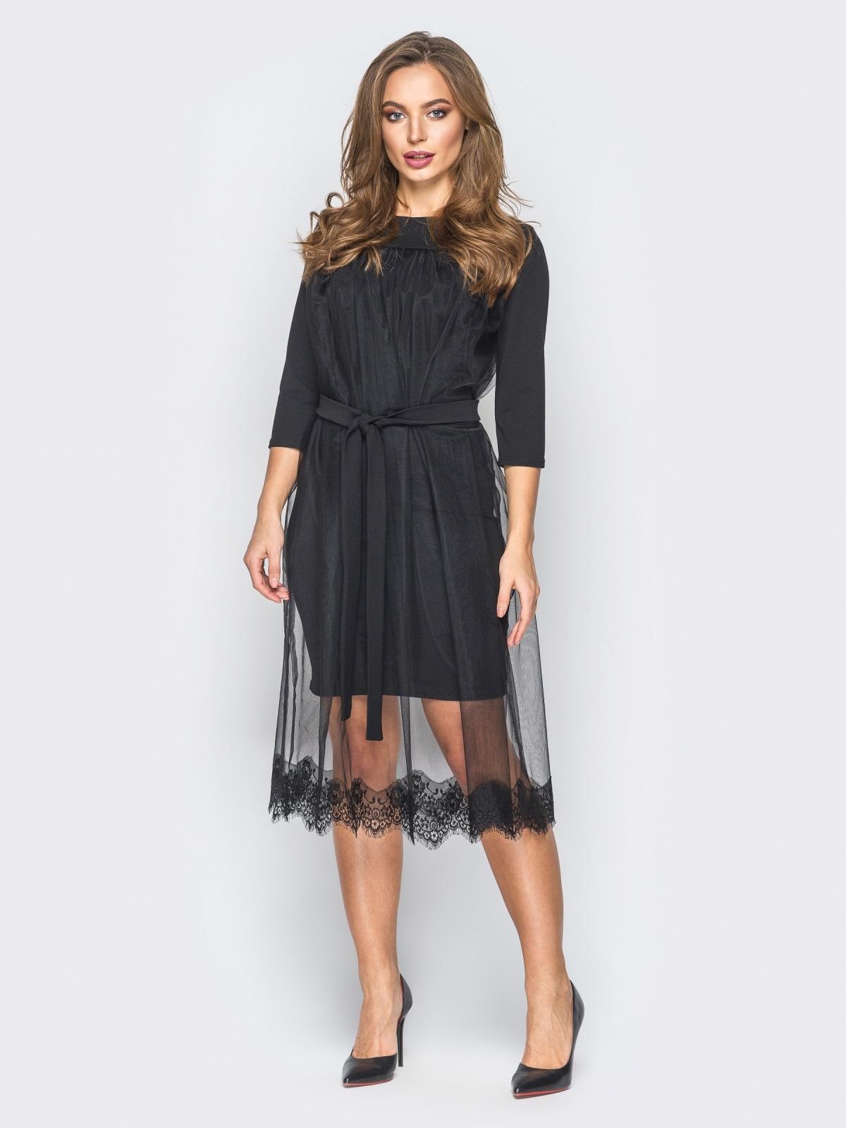 Платье из креп-дайвинга с фатином черное - 18344, фото 1 – интернет-магазин Dressa