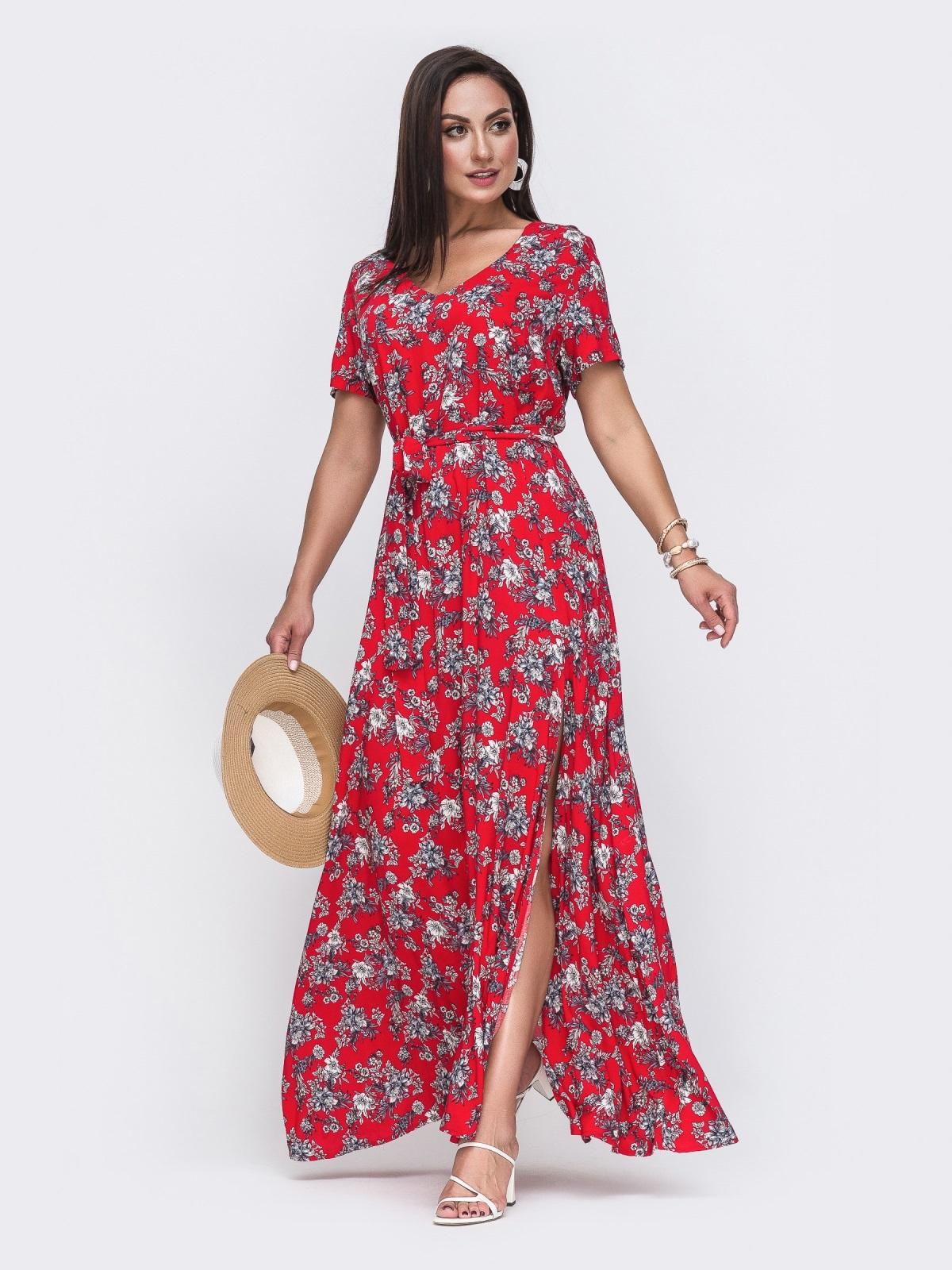Платье-макси большого размера с цветочным принтом красное 49806, фото 1