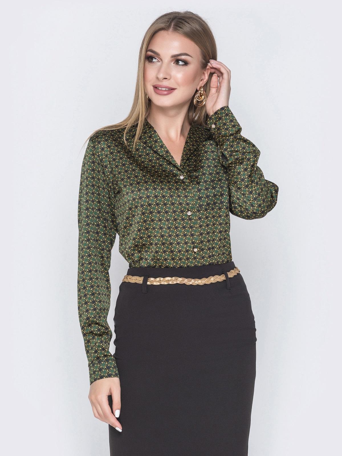 Шелковая рубашка зеленого цвета с принтом - 40254, фото 1 – интернет-магазин Dressa
