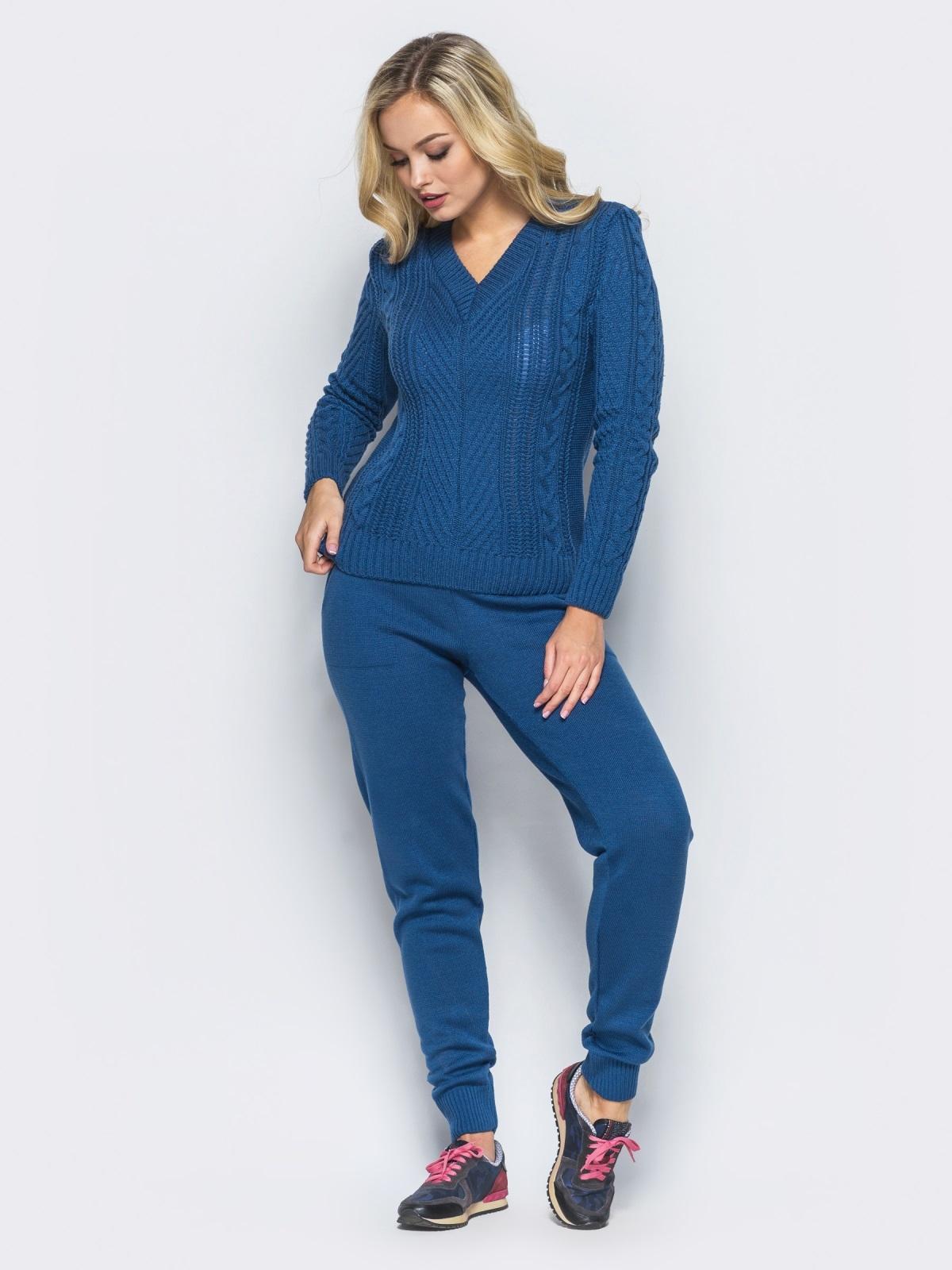 Синий комплект с v-образной  горловиной на свитере - 16084, фото 2 – интернет-магазин Dressa