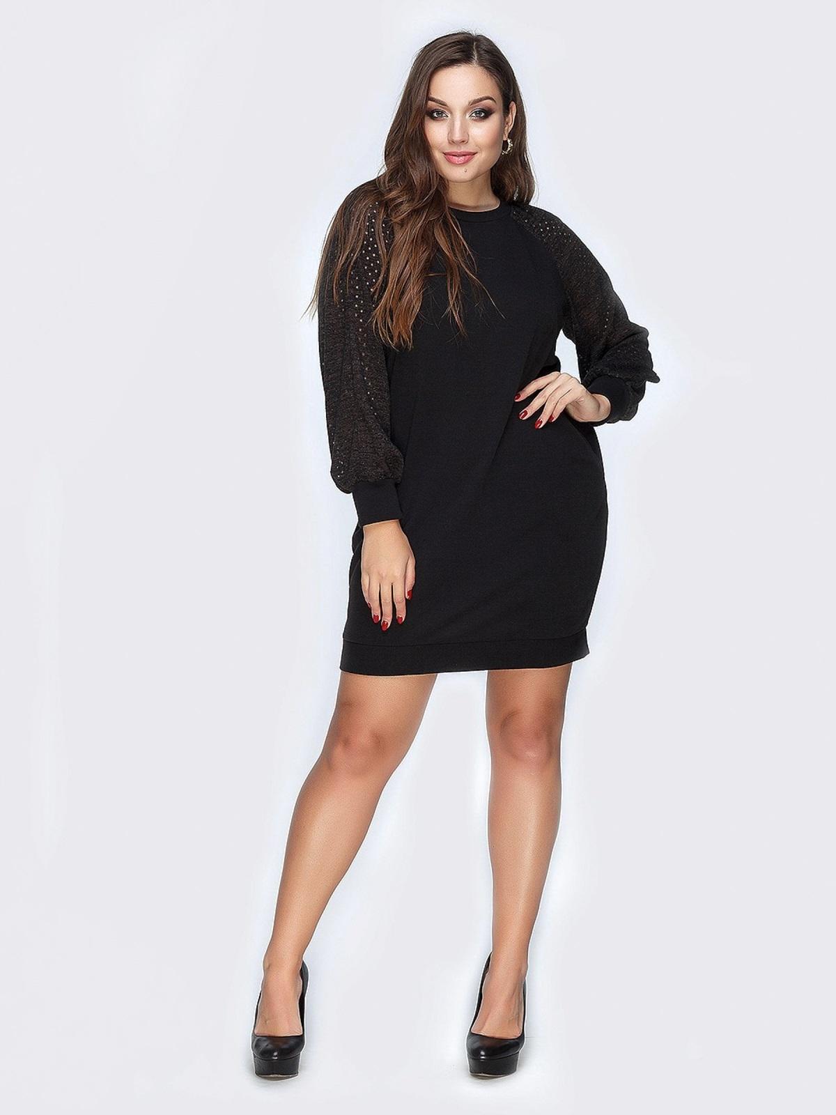 Черное платье из ангоры и перфорацией на рукавах - 19160, фото 1 – интернет-магазин Dressa