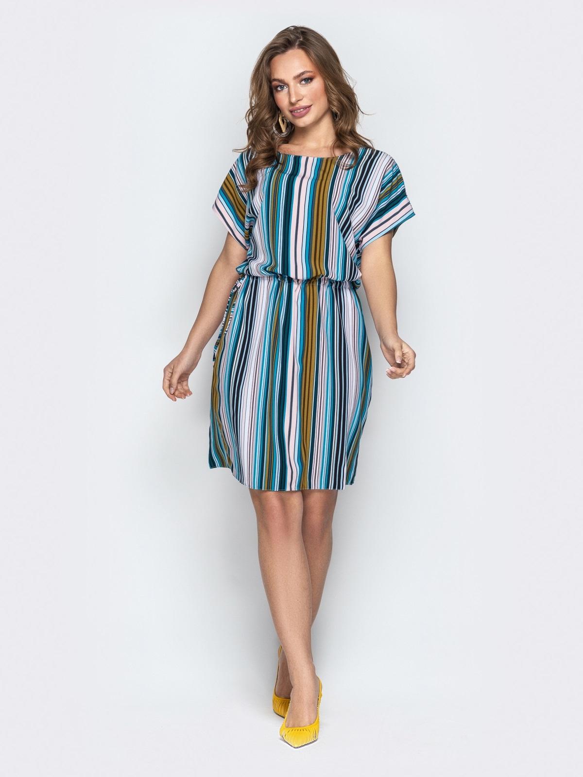 Голубое платье в полоску с кулиской по талии - 20813, фото 1 – интернет-магазин Dressa