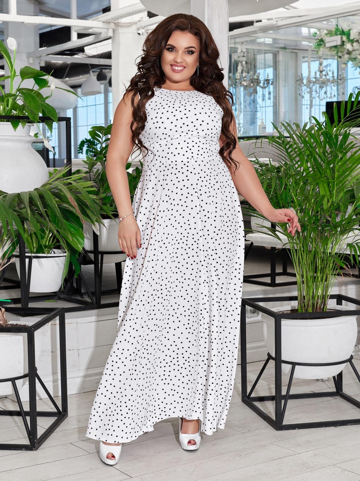 Приталенное платье-макси большого размера в горох белое 47695, фото 1
