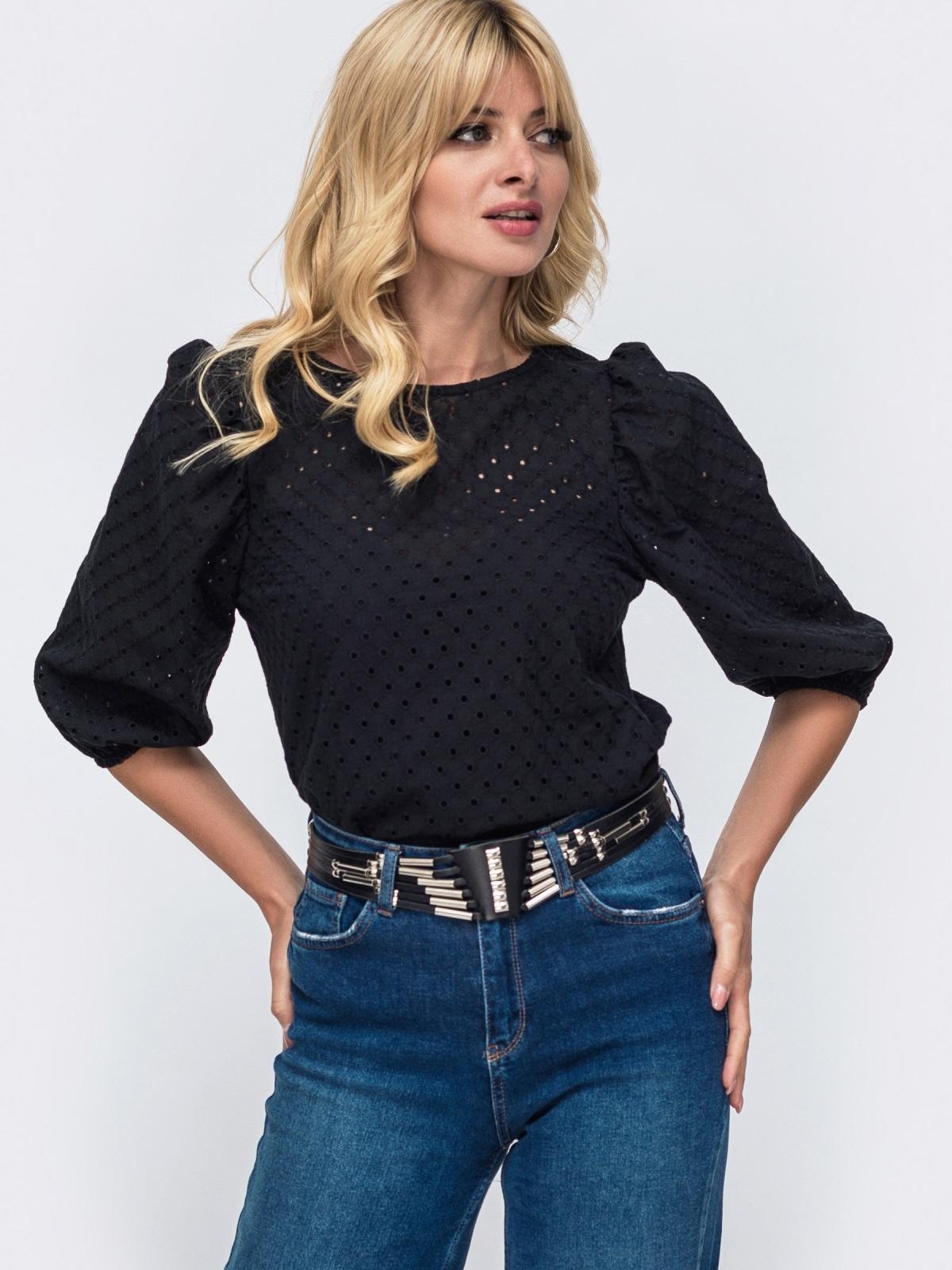 Прямая блузка из прошвы с объемными рукавами чёрная 50061, фото 1