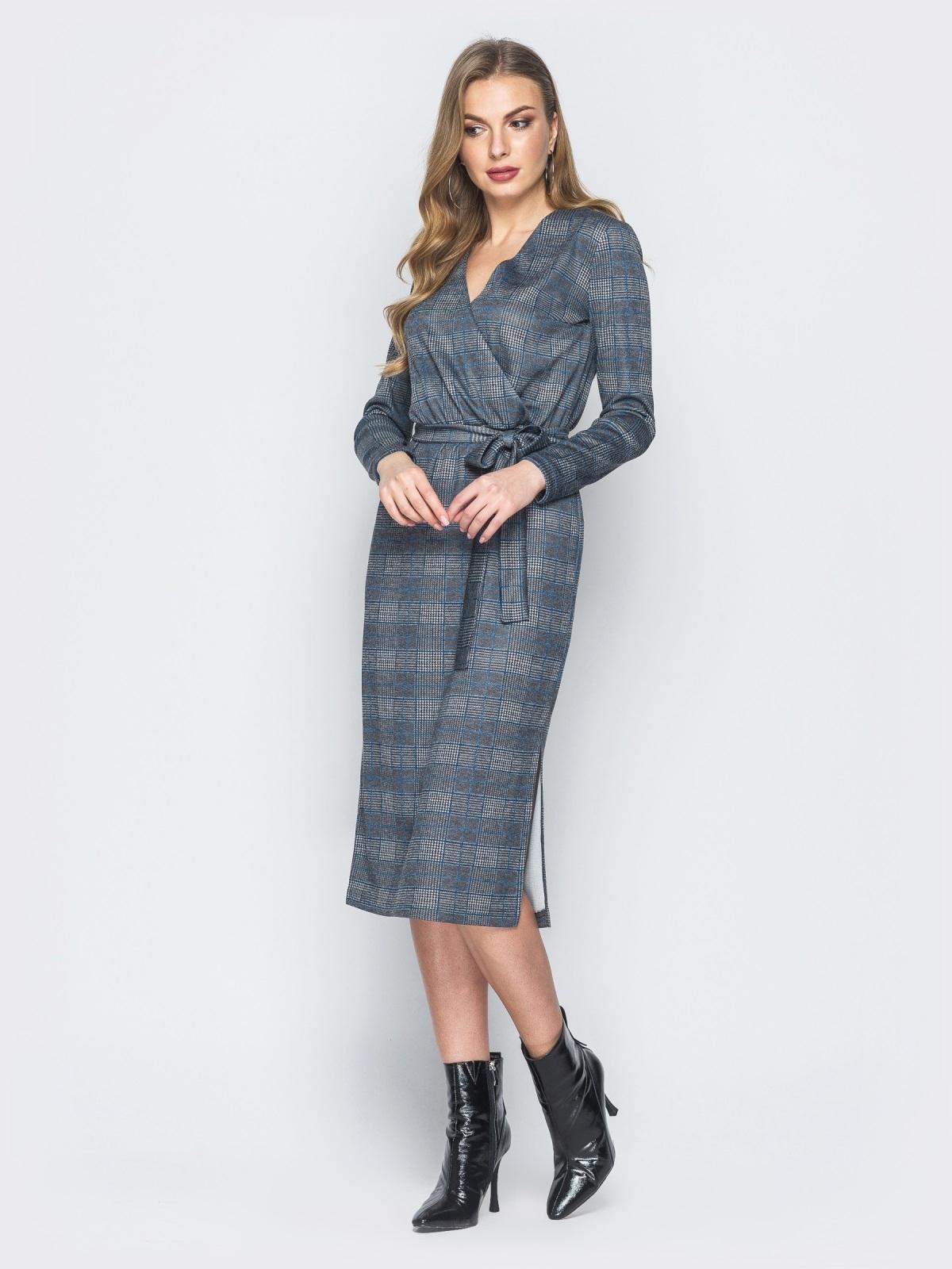 Серое платье в клетку с фиксированным запахом - 18778, фото 1 – интернет-магазин Dressa