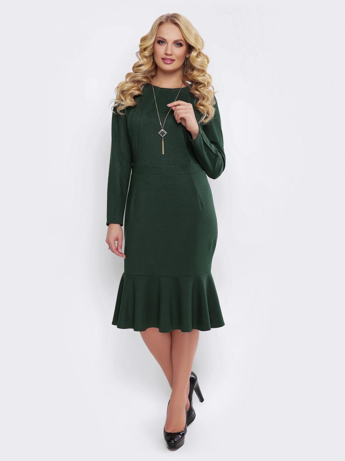 Зелёное платье с юбкой-годе и вшитым поясом - 19523, фото 1 – интернет-магазин Dressa