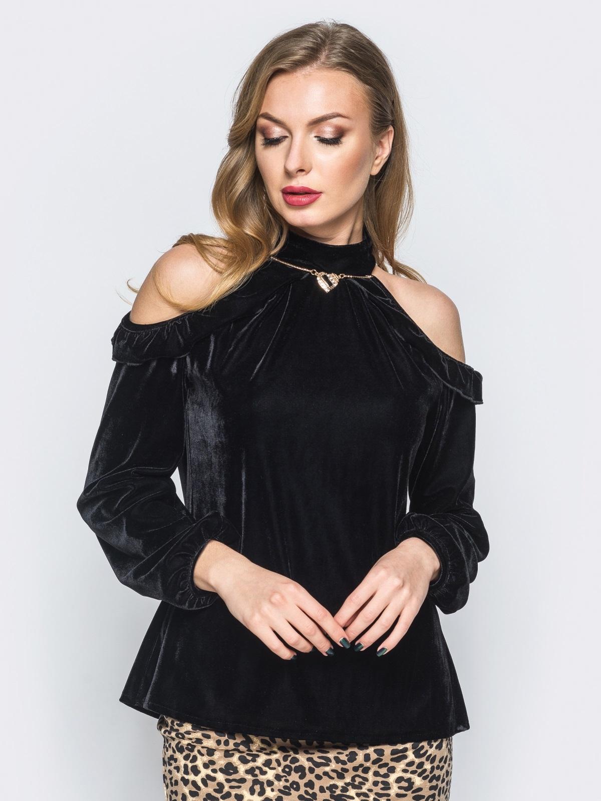 Велюровая кофта черного цвета с открытыми плечами - 17984, фото 1 – интернет-магазин Dressa