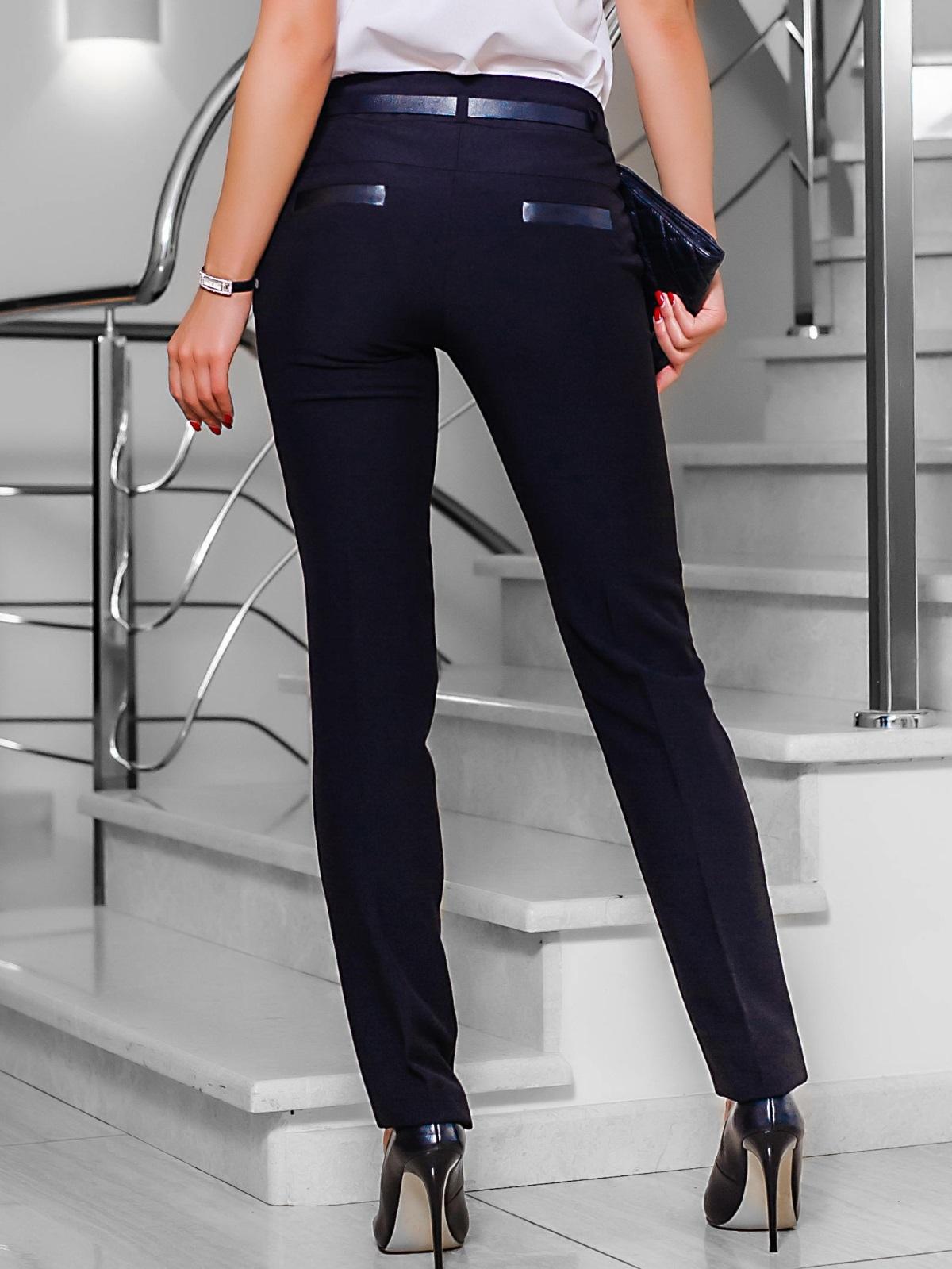 Черные брюки со шлёвками для пояса - 10296, фото 1 – интернет-магазин Dressa