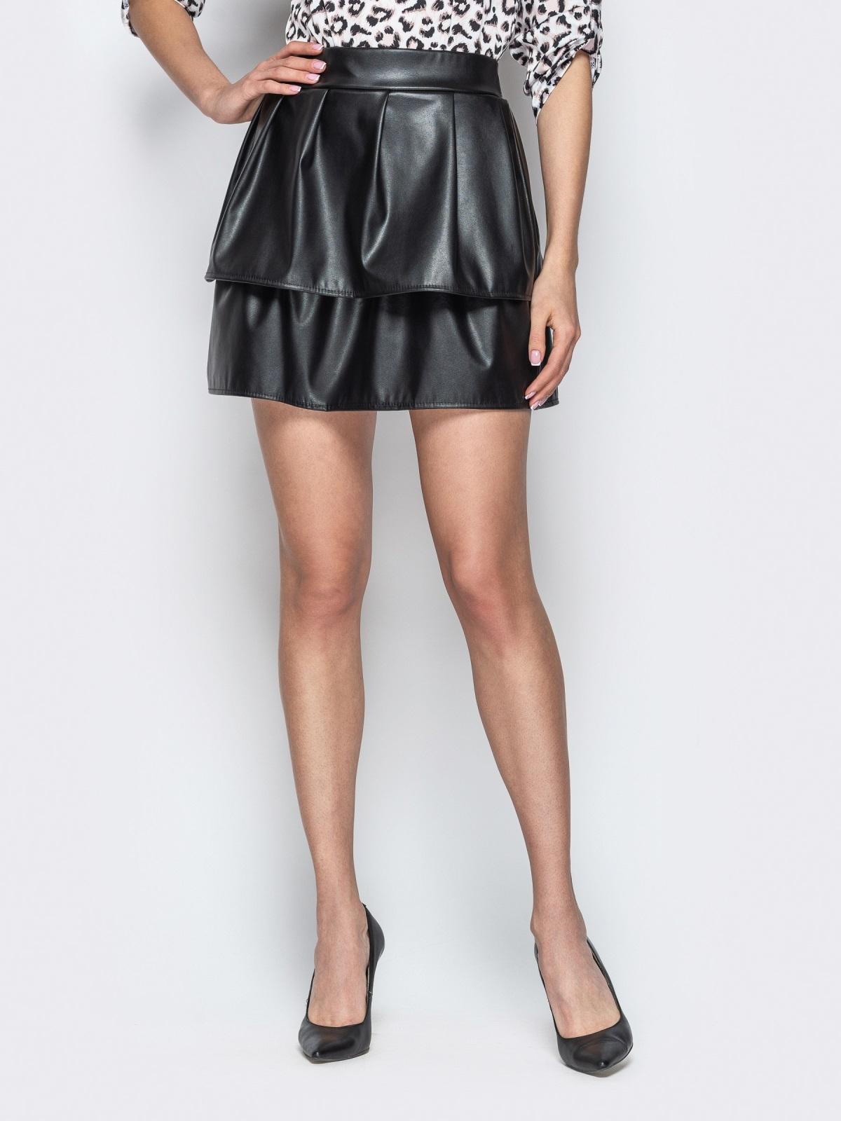 Двухъярусная юбка-мини из эко-кожи чёрная - 20736, фото 1 – интернет-магазин Dressa