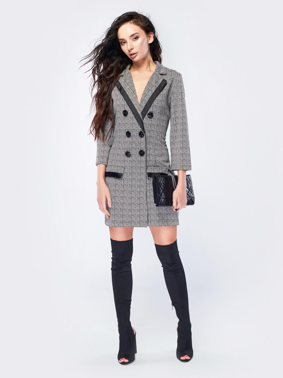 Платье-пиджак с зигзагообразным принтом - 17510, фото 1 – интернет-магазин Dressa