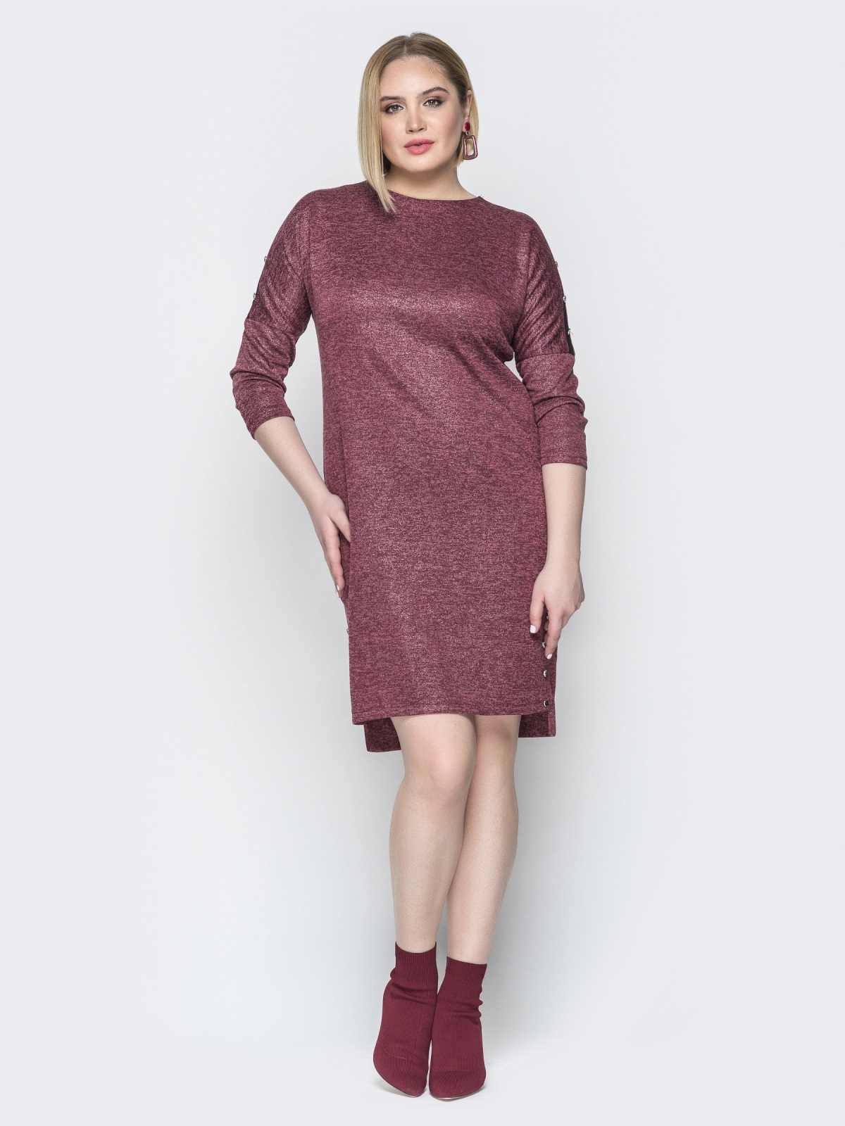 Бордовое платье с люрексом приталенного кроя и пуговицами 20364, фото 1