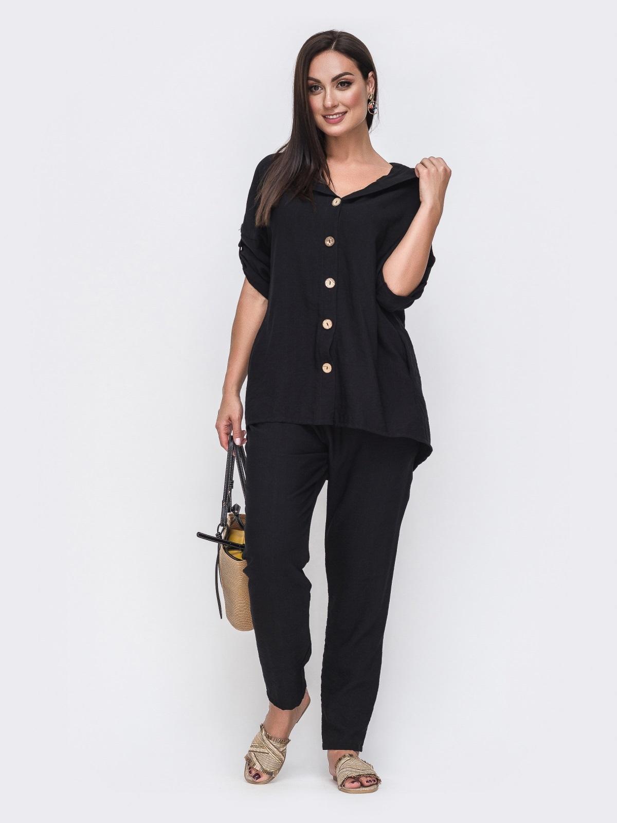 Черный комплект батал с блузкой на пуговицах спереди 49723, фото 1