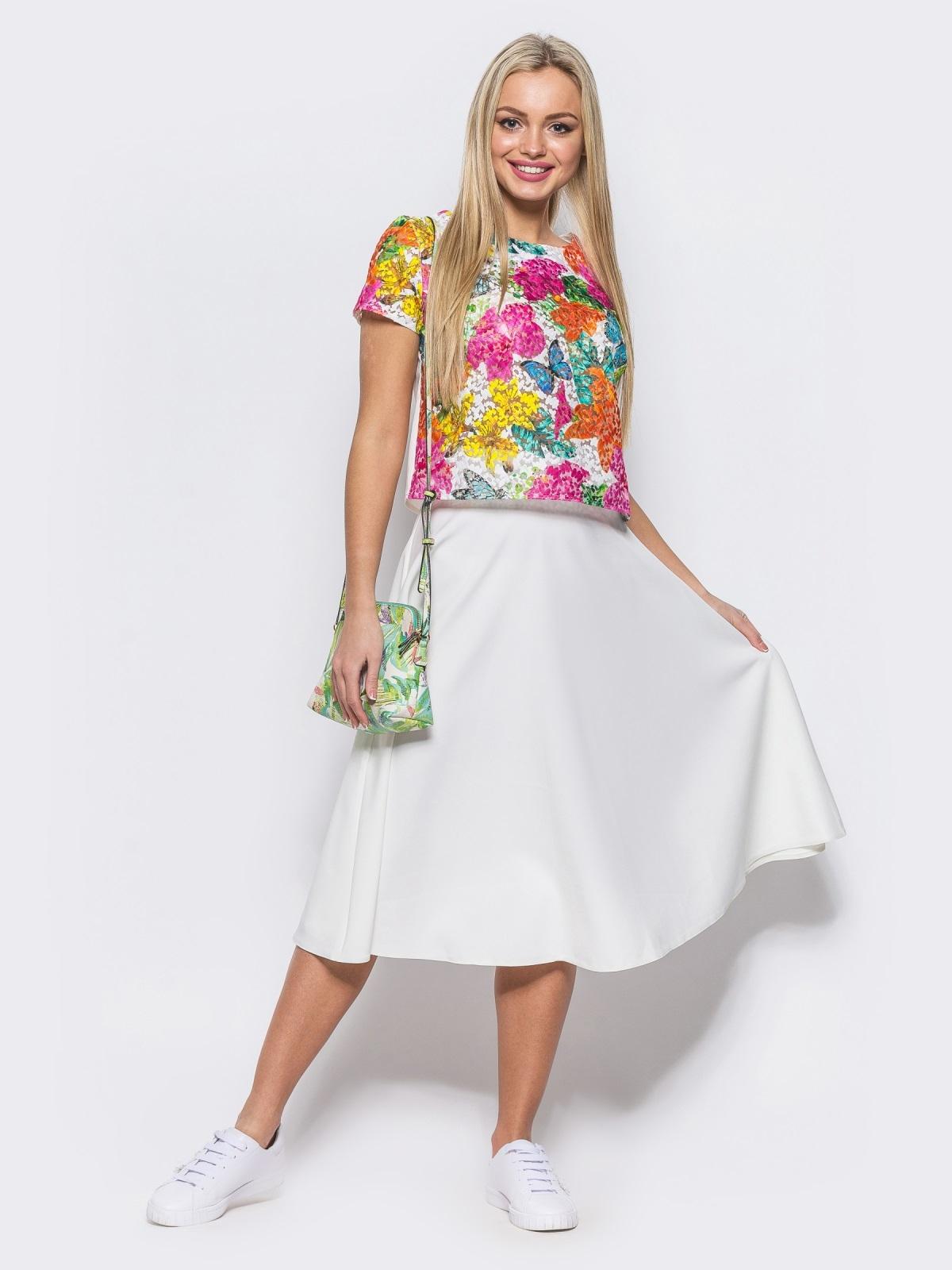Комплект с юбкой-полусолнце белого цвета - 10468, фото 1 – интернет-магазин Dressa