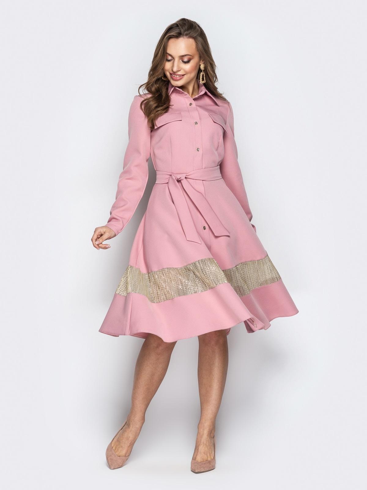 Пудровое платье-рубашка с юбкой-полусолнце и карманами - 21334, фото 1 – интернет-магазин Dressa