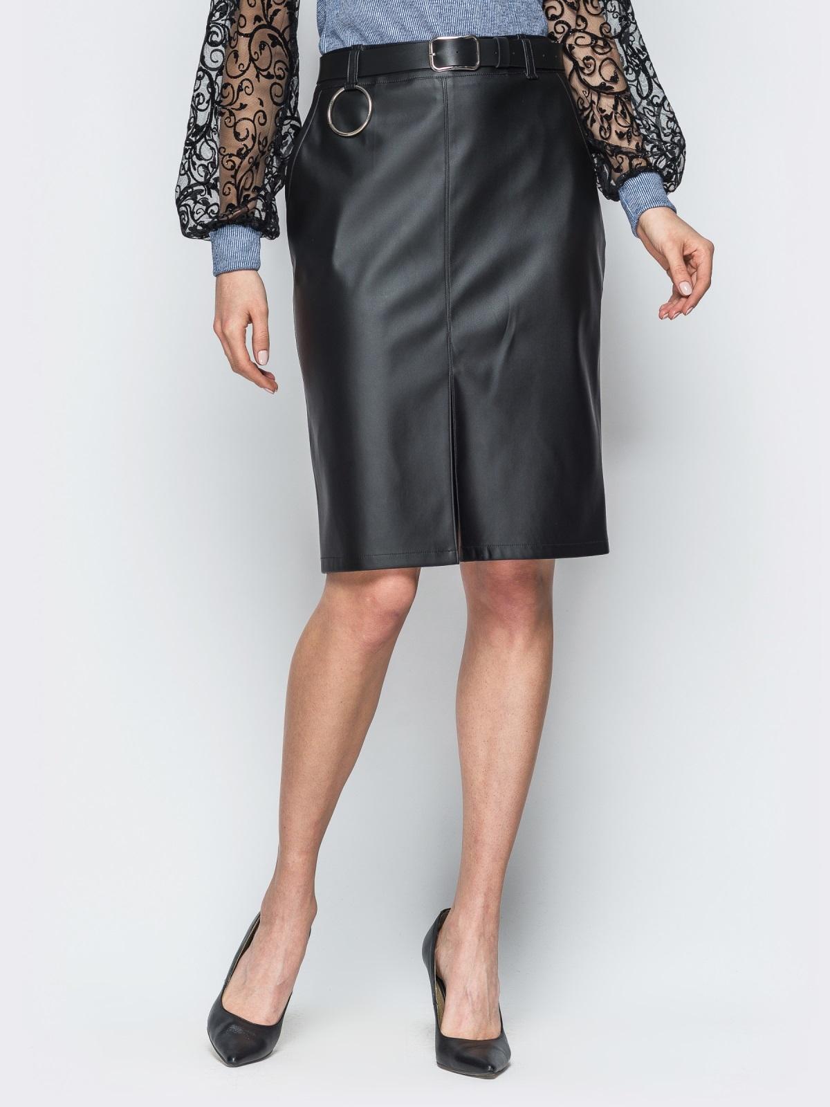 Кожаная черная юбка с разрезом спереди - 18859, фото 1 – интернет-магазин Dressa