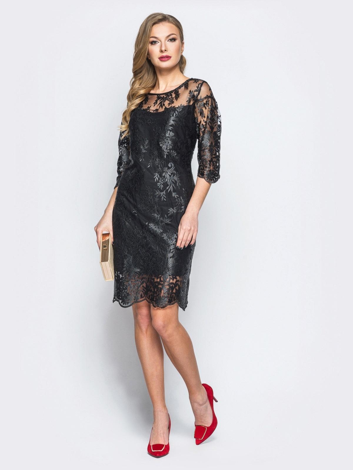 Гипюровое платье черного цвета с рукавами-воланами - 18132, фото 1 – интернет-магазин Dressa