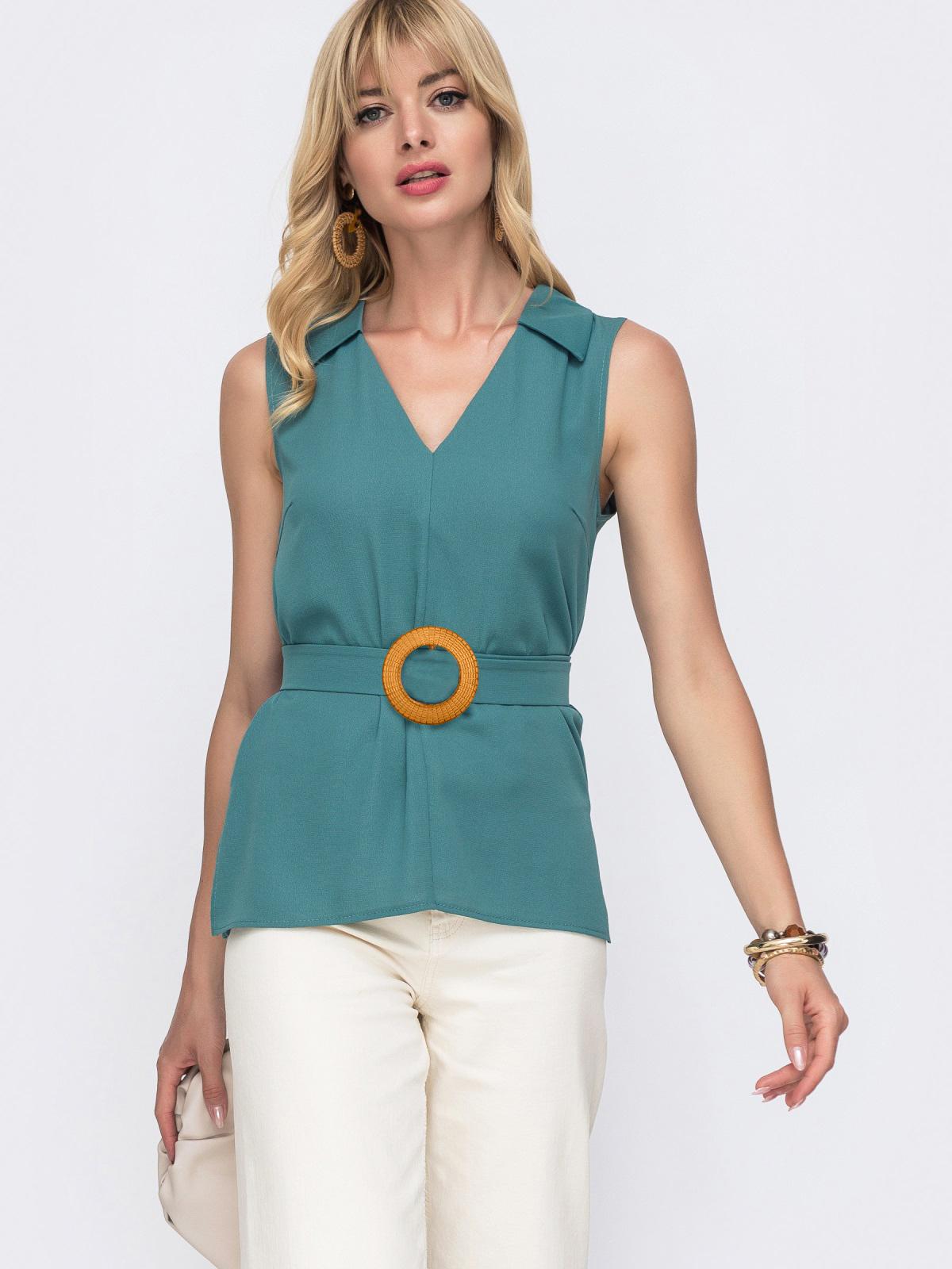 Бирюзовая блузка с V-вырезом и разрезами по бокам - 49121, фото 1 – интернет-магазин Dressa