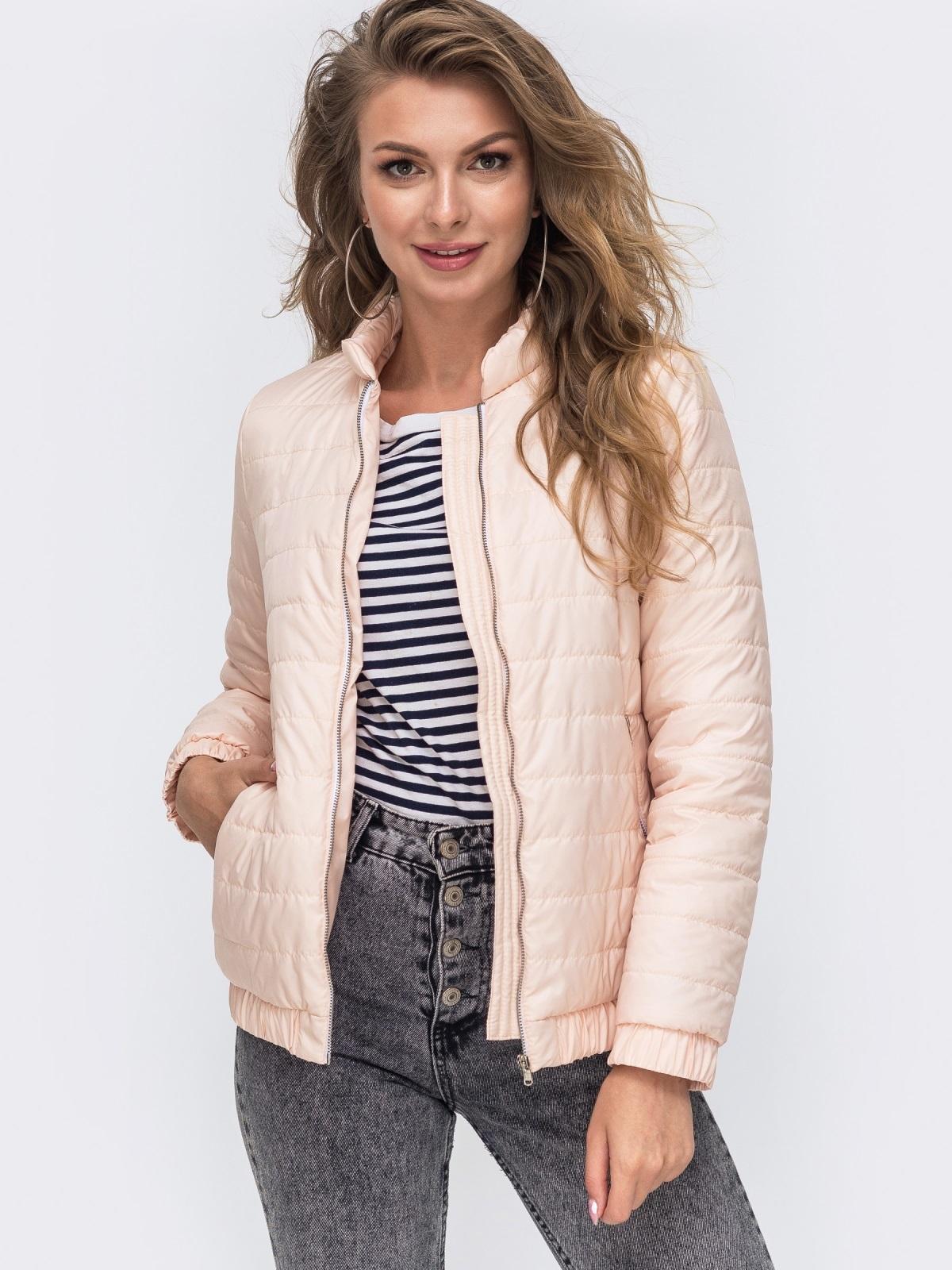 Демисезонная куртка с резинкой по низу пудровая 50641, фото 1