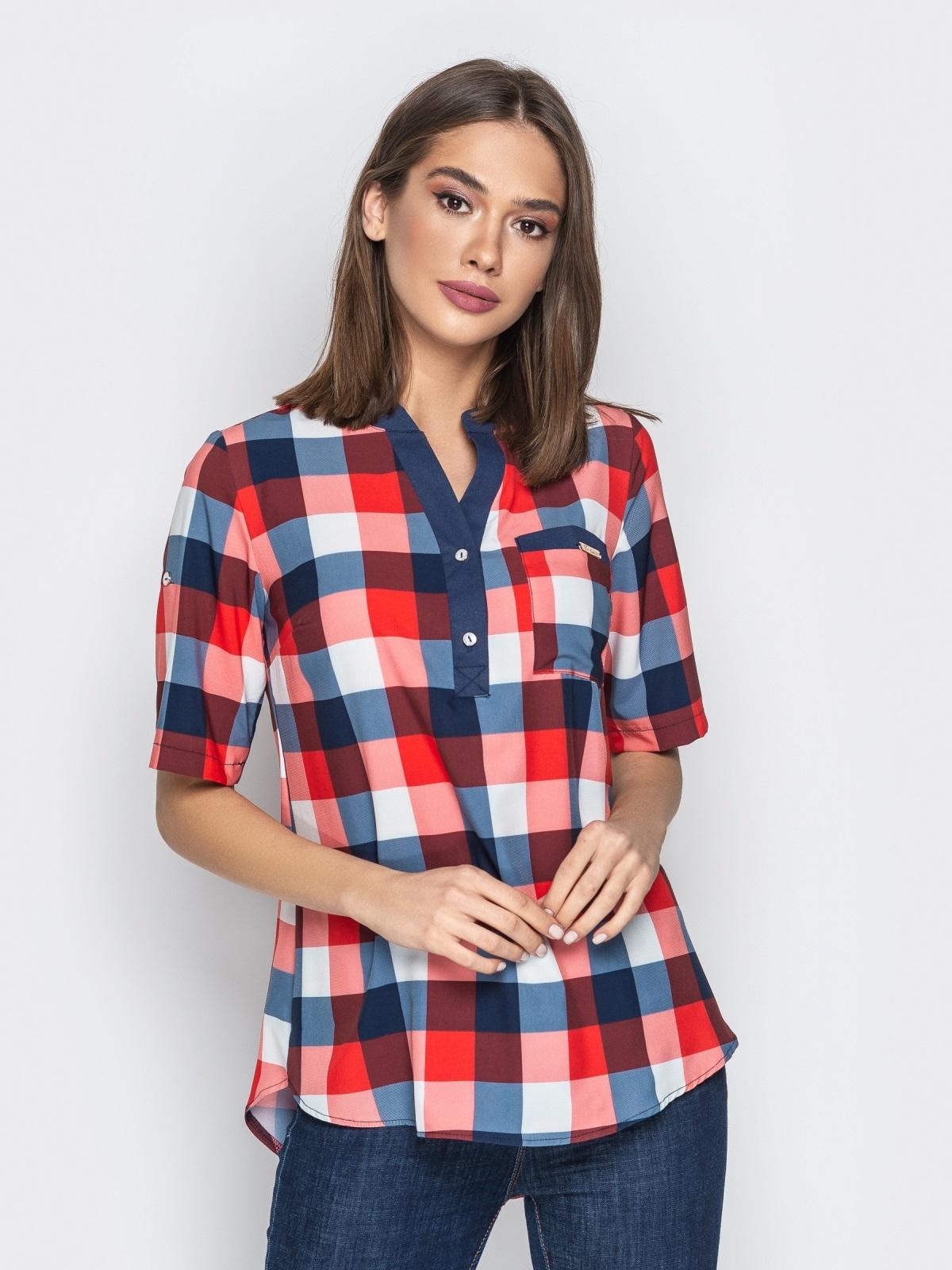 82d6175e0a9 Красная блузка в клетку с контрастной окантовкой и карманом 21168 ...