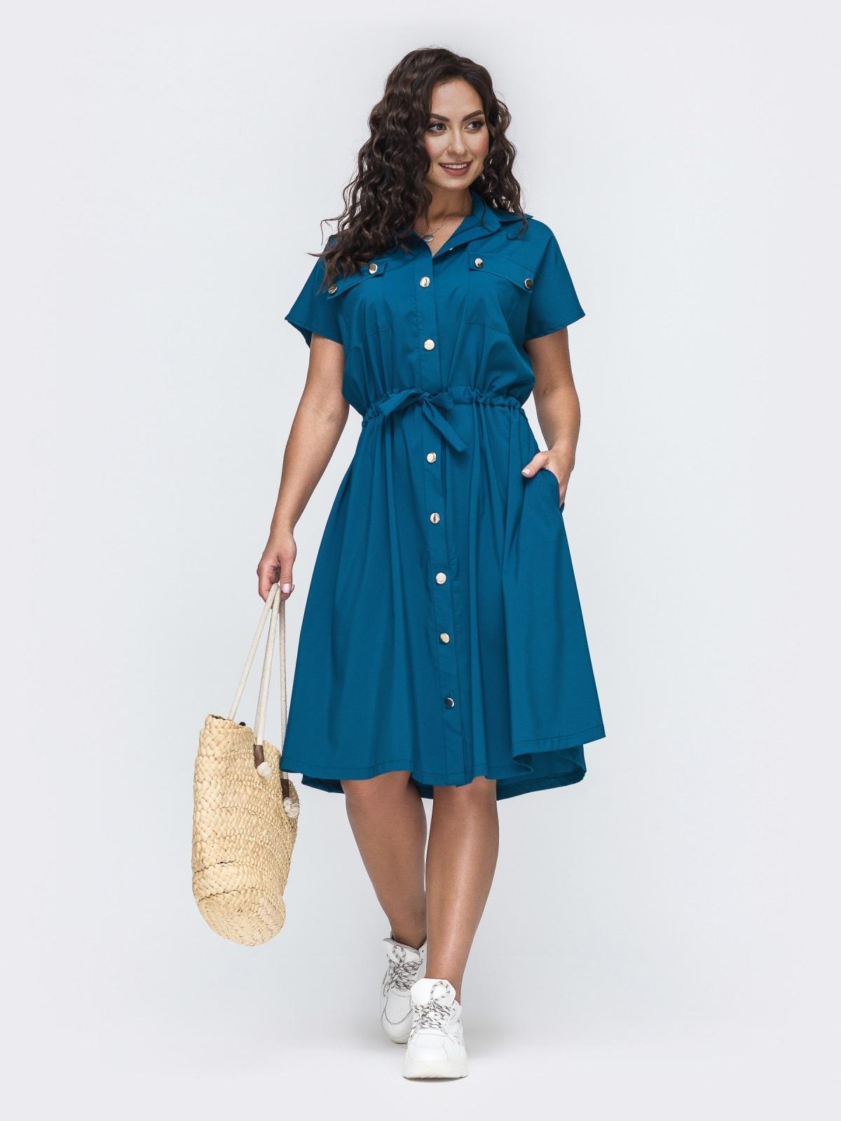 Синее платье-рубашка большого размера с кулиской по талии 49941, фото 1