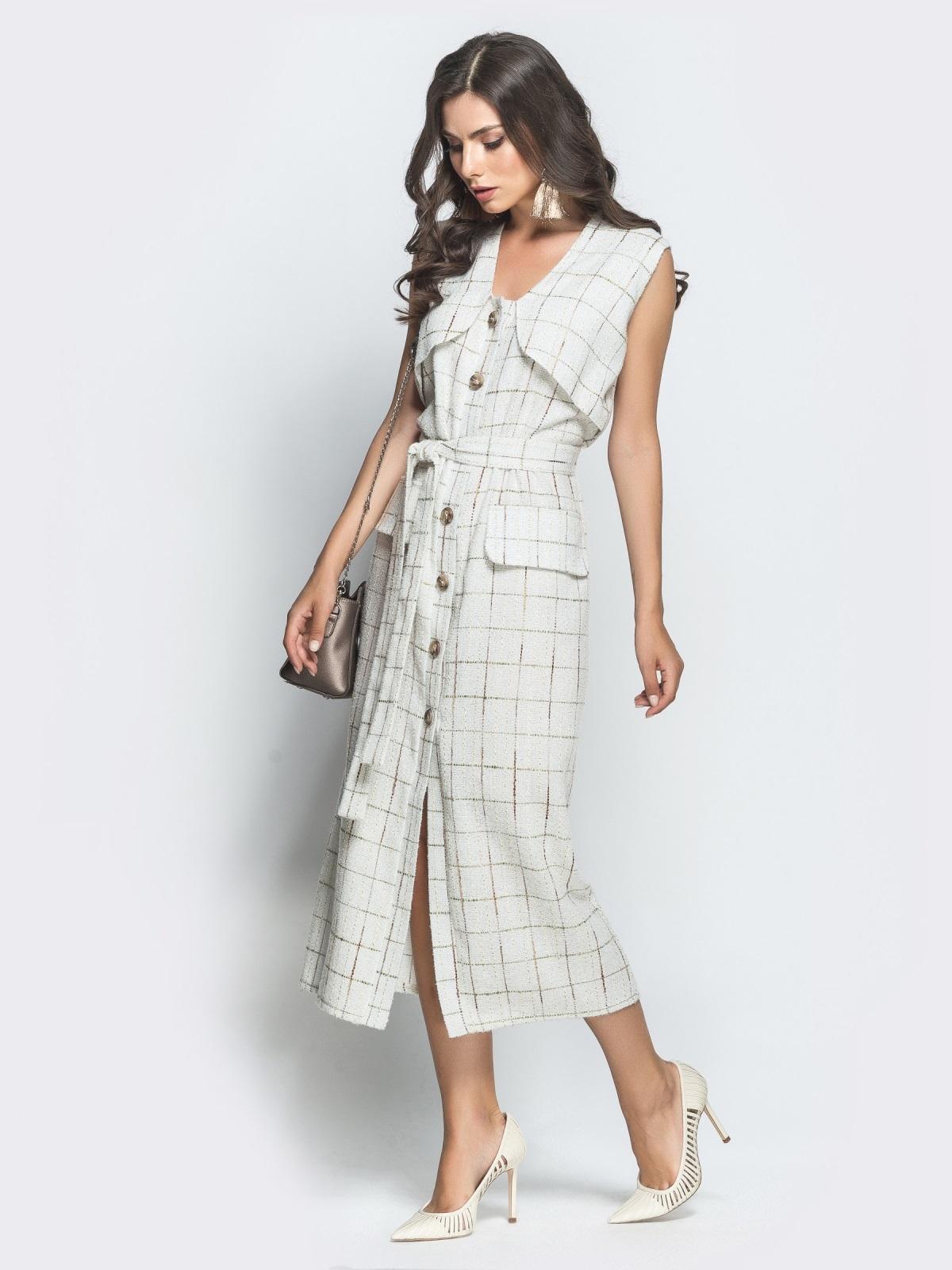 Приталенное платье из твида в клетку белое - 39928, фото 1 – интернет-магазин Dressa