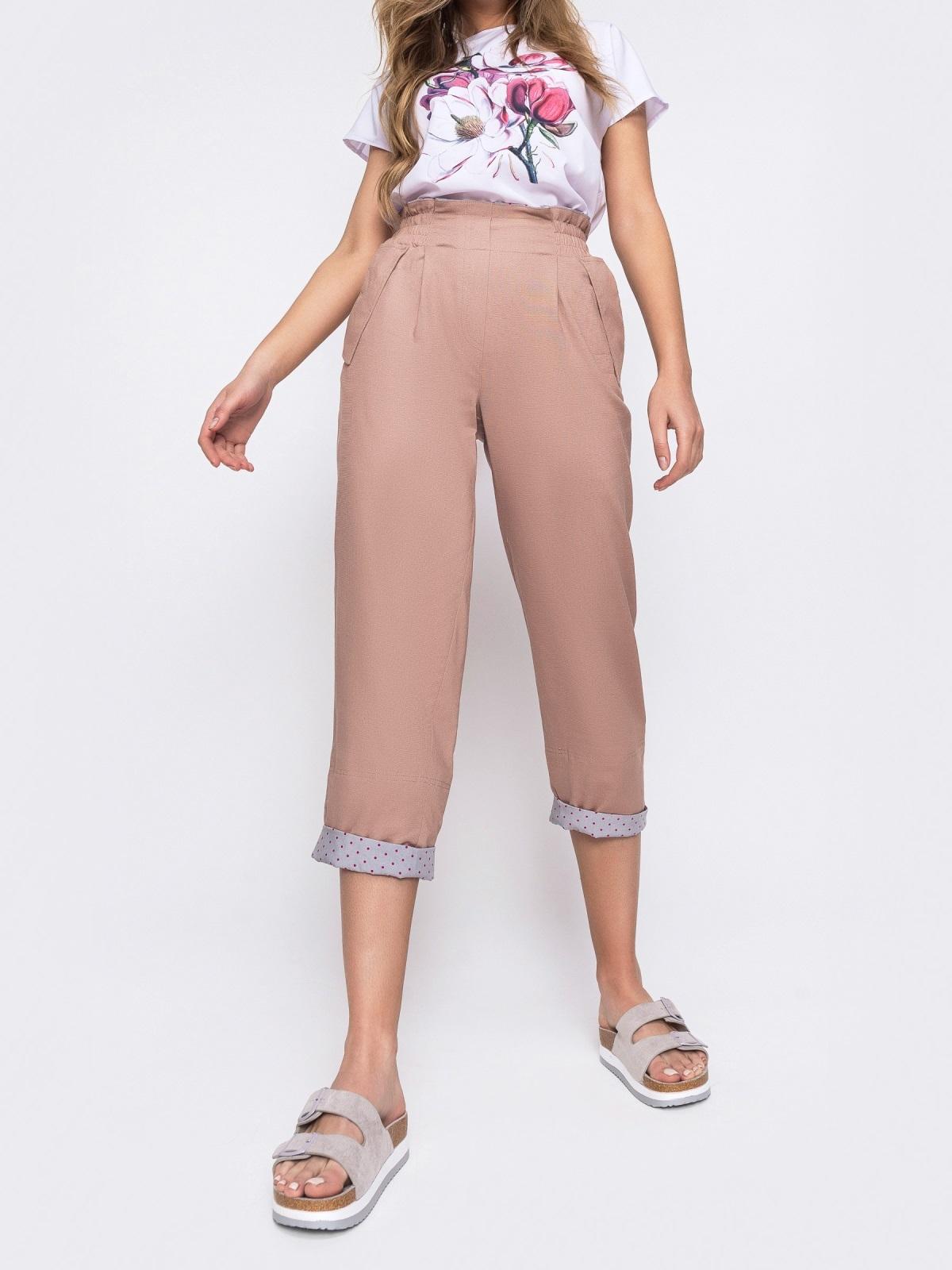 Розовые брюки с завышеной талией и подворотами 48453, фото 1