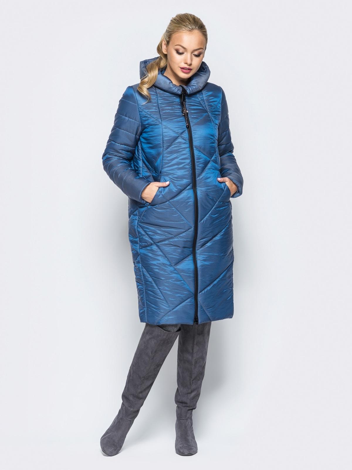 Зимняя куртка синего цвета с кулиской на капюшоне - 16988, фото 1 – интернет-магазин Dressa