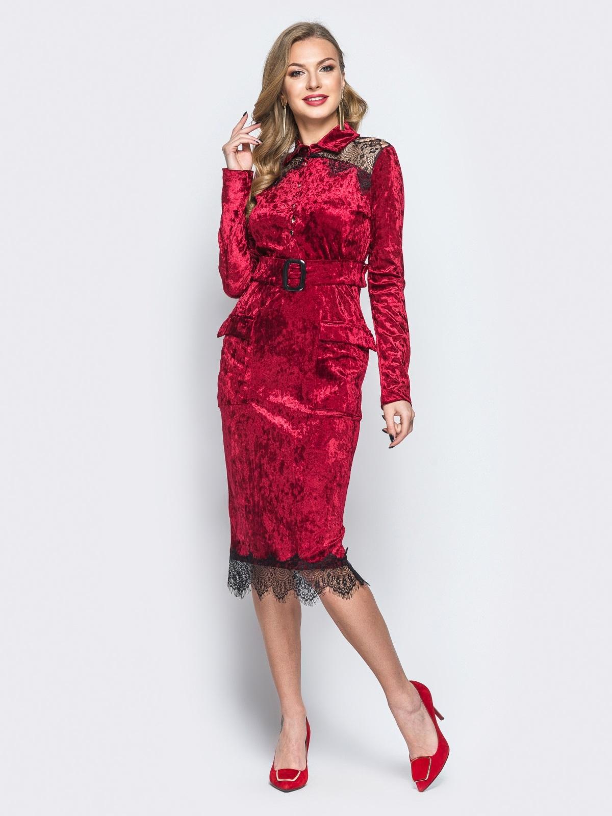 Бархатное платье бордового цвета с функциональными пуговицами - 18083, фото 1 – интернет-магазин Dressa
