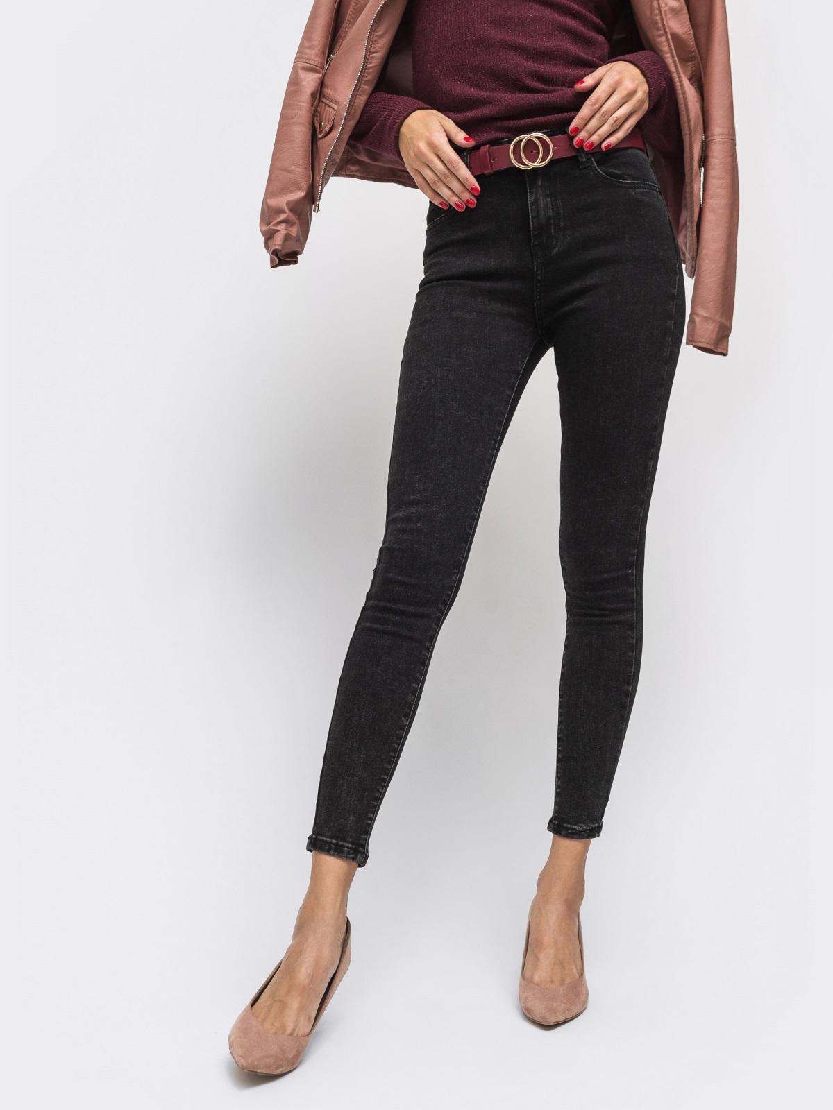 Джинсы-скинни чёрного цвета с высокой посадкой - 41931, фото 1 – интернет-магазин Dressa