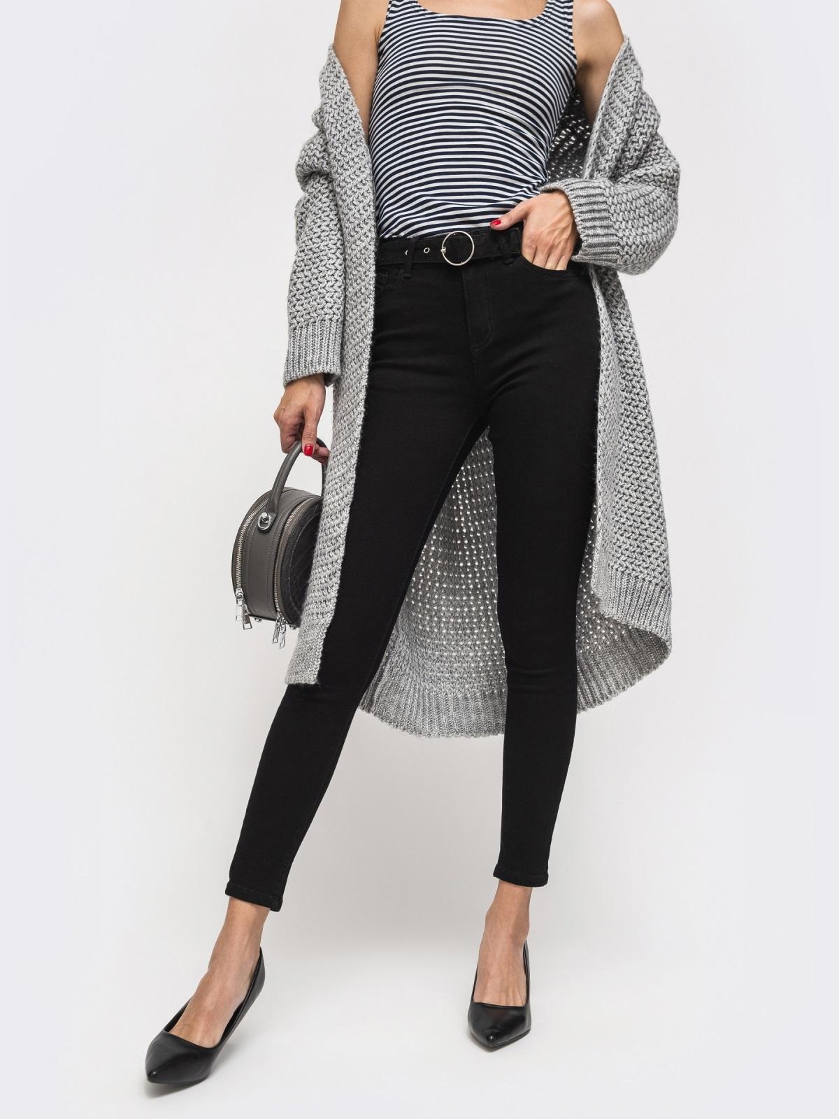 Обтягивающие джинсы чёрного цвета с поясом - 41929, фото 1 – интернет-магазин Dressa