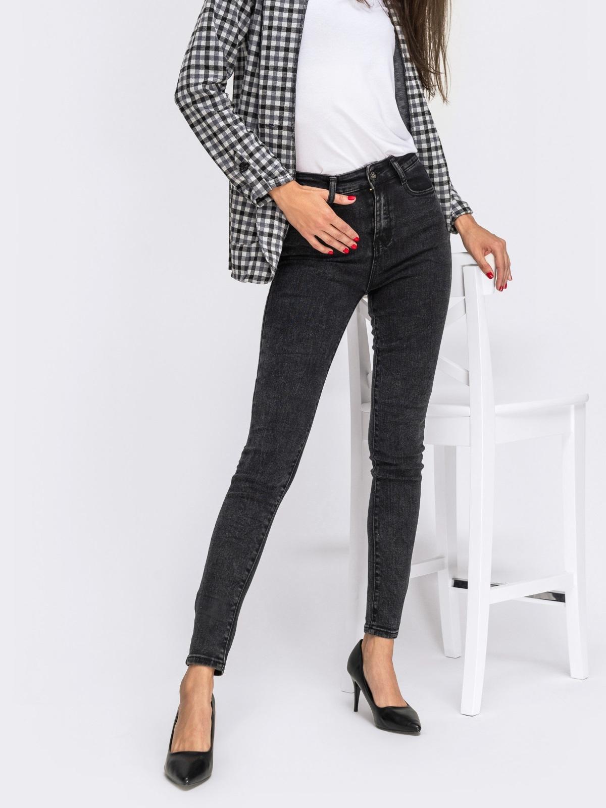 Обтягивающие джинсы черного цвета с завышенной талией - 41934, фото 1 – интернет-магазин Dressa