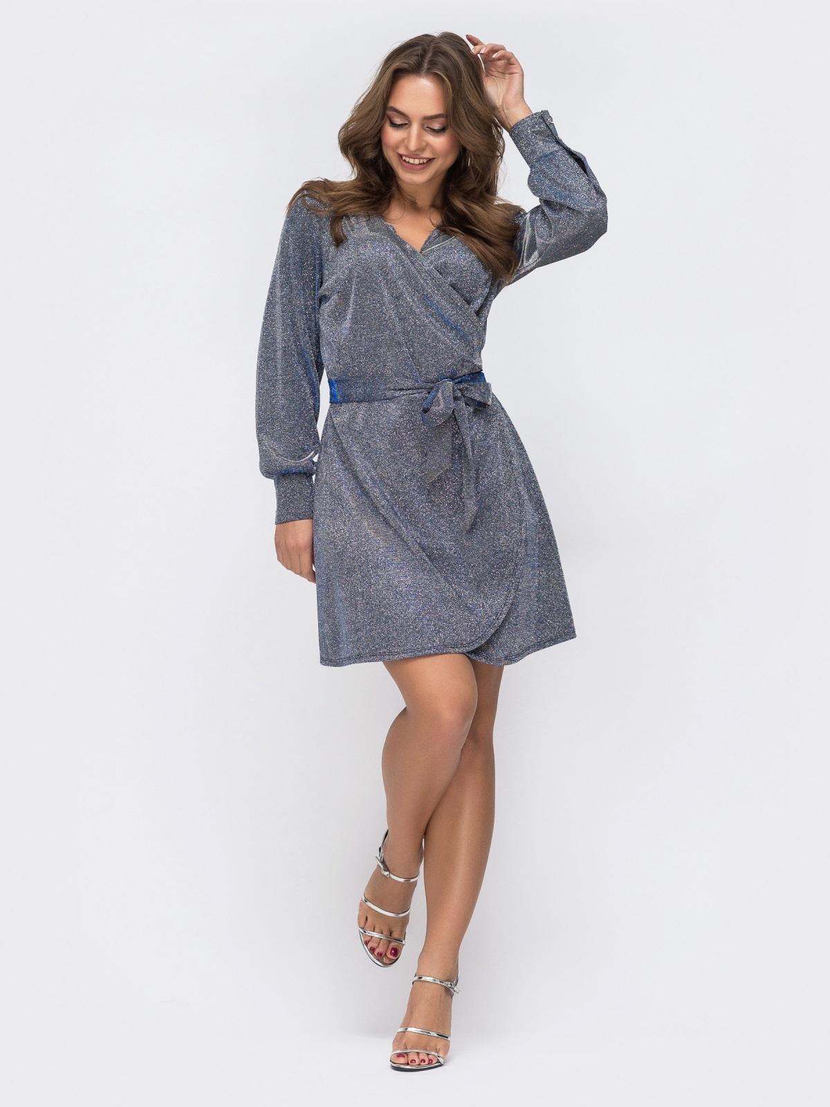 Платье на запах из люрекса с поясом в комплекте серое - 42751, фото 1 – интернет-магазин Dressa