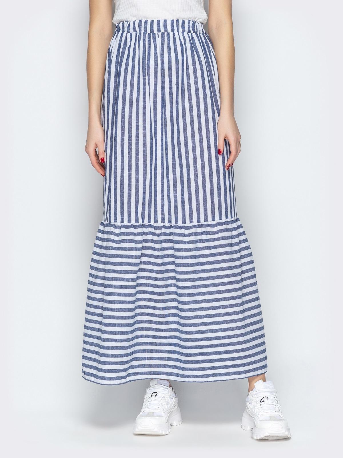 Тёмно-синяя юбка в полоску на резинке с воланом по низу - 20503, фото 1 – интернет-магазин Dressa