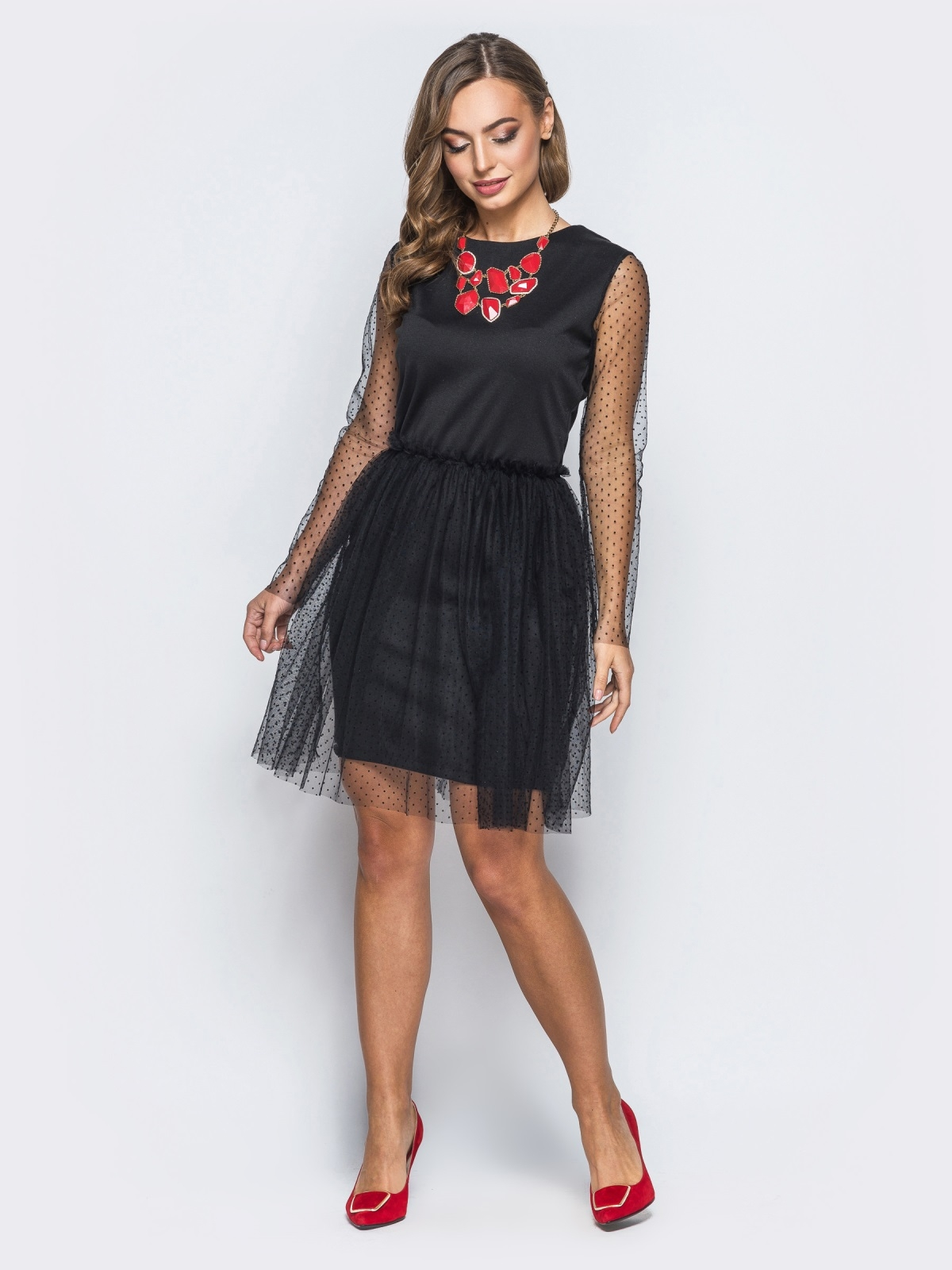 6c92558772b Трикотажное платье с рукавами и юбкой и фактурного фатина черное - 18077
