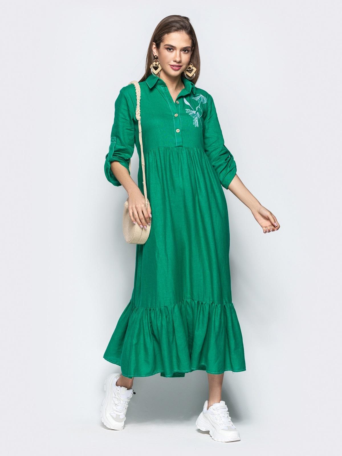 """Платье с вышивкой """"колибри"""" и завышенной талией зеленое 21922, фото 1"""