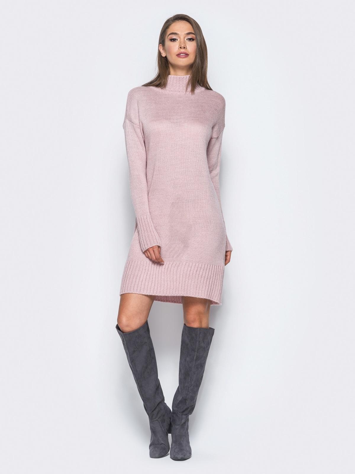 Вязаное платье свободного кроя с широким воротником розовое - 13168, фото 4 – интернет-магазин Dressa