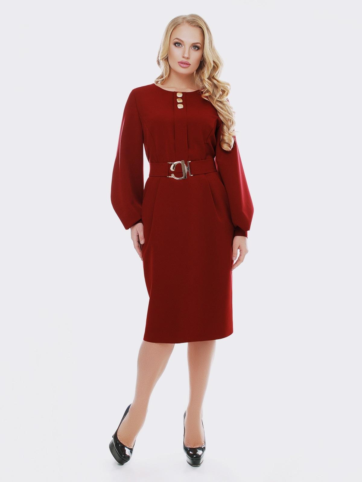 Бордовое платье с расклешенными рукавами - 19113, фото 1 – интернет-магазин Dressa