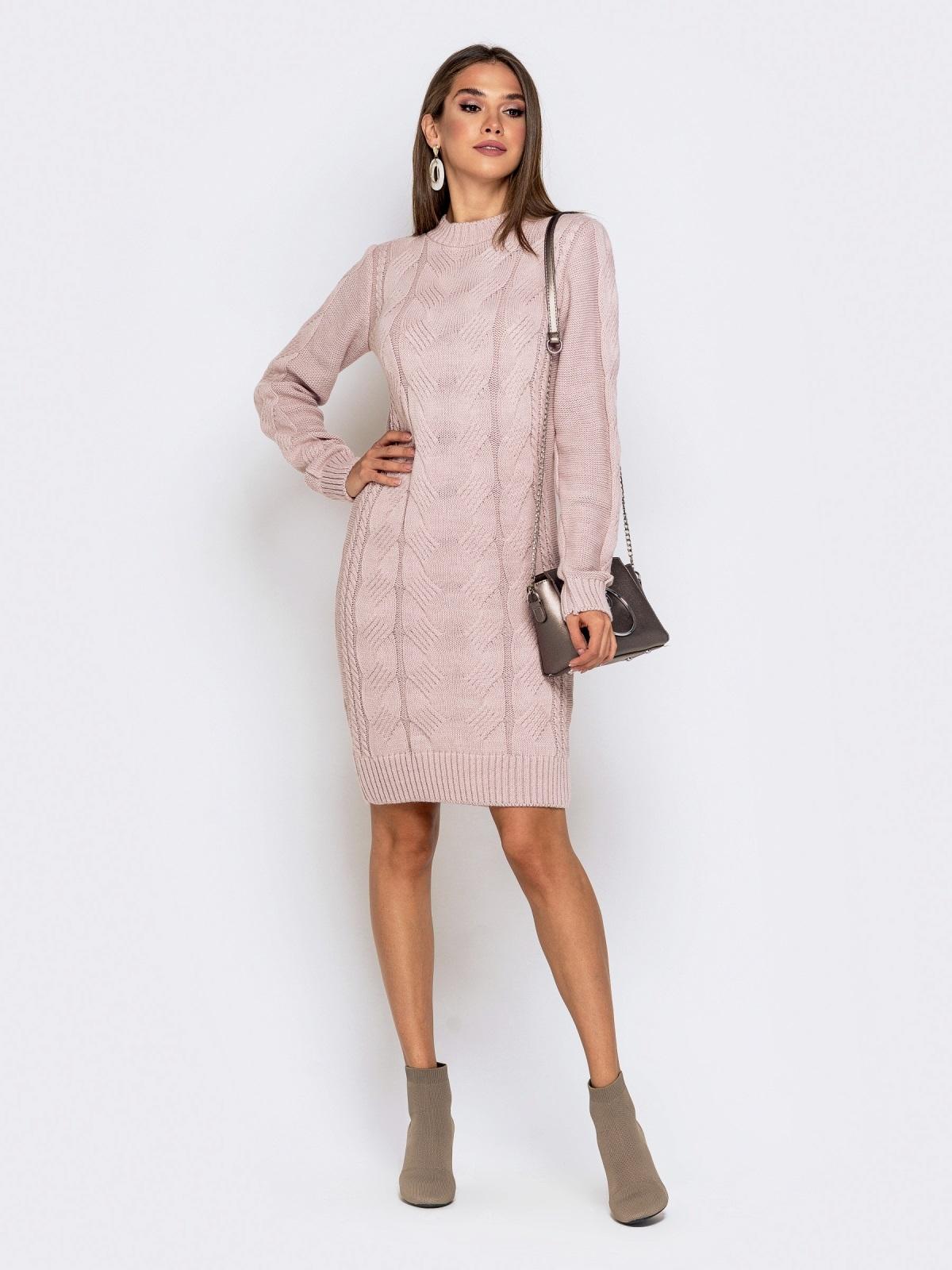 Вязаное платье-миди с косами пудровое - 41062, фото 1 – интернет-магазин Dressa