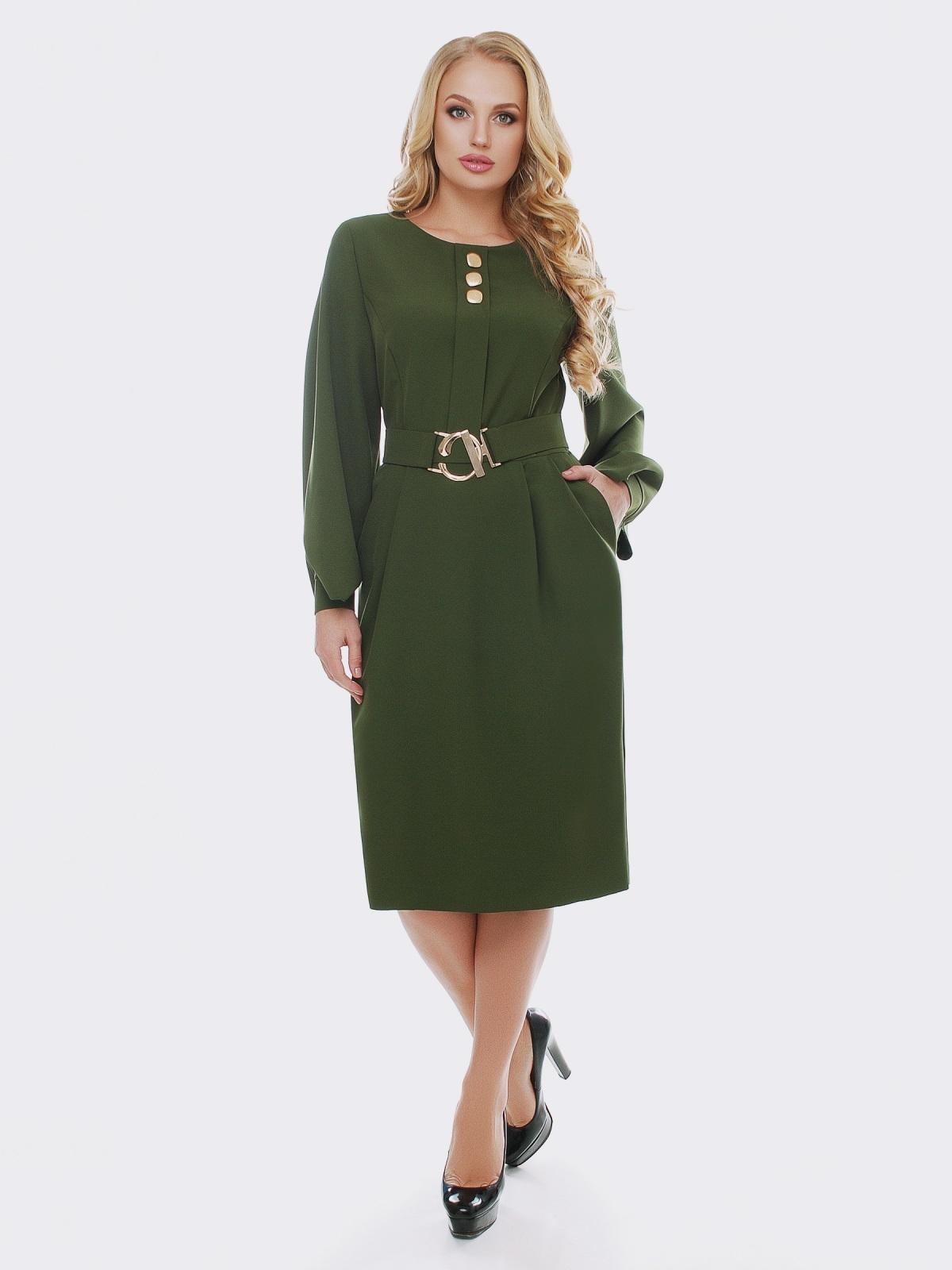 Зелёное платье с расклешенными рукавами - 19114, фото 1 – интернет-магазин Dressa